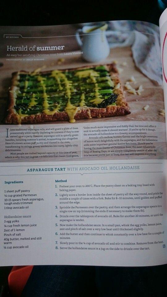 Asparagus tart with avocado oil hollandaise