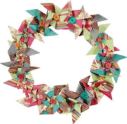 Pin wheels are in right now. How cute is a pinwheels wreath for your door. Paper Whishes has the templetes and the double sides paper to make it happen.