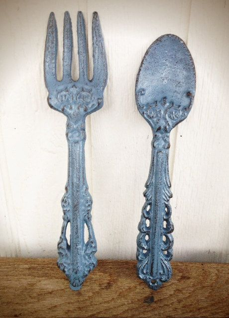 BOLD calming slate blue grey KITCHEN wall decor // ornate fork and spoon wall art // cottage country shabby chic // MODERN hand painted // by BOLDHOUSE, $25.00