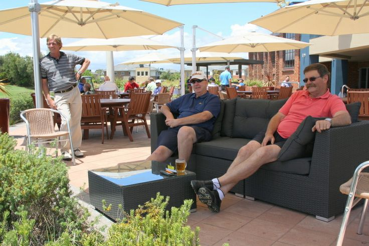 Time to relax with a drink after the game on the terrace overlooking the course