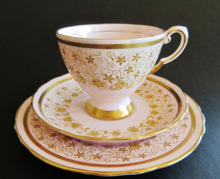 Vintage Tuscan pink trio with beautiful gold filigree decoration High Tea