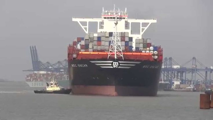 MSC Oscar arriving at the Port of Felixstowe on its maiden voyage from China to Europe on the 9th March 2015.