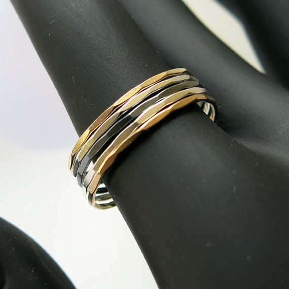 Stacking #ring faceted 1mm by #ajjstudios on #Etsy