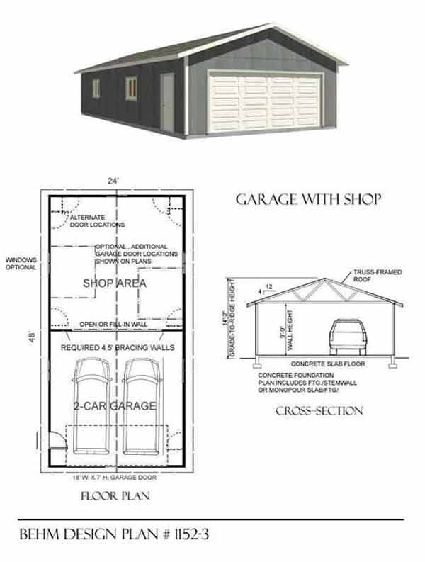Two car garage with shop plan 1152 3 24 39 x 48 39 by behm for Garage door plans free