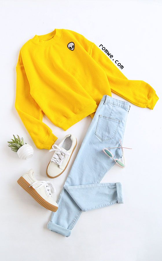 Yellow Drop Shoulder Embroidered Sweatshirt   Style: Cute Season: Fall Type: Pullovers Pattern Type: Embroidery Color: Yellow