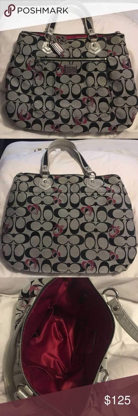 Coach Poppy Handbag Limited Edition Coach Poppy Bag. Black and grey with magenta accents. No longer available in stores. Used rarely. Great condition inside and out. MSRP: $398.00 Coach Bags
