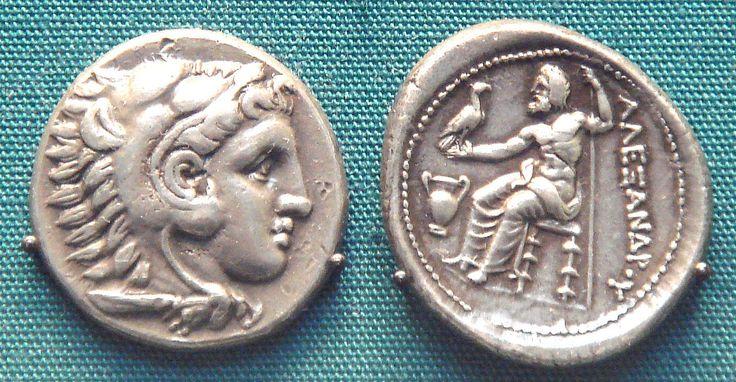 Moneda de plata de Alejandro (336-323 a. C.), Museo Británico.