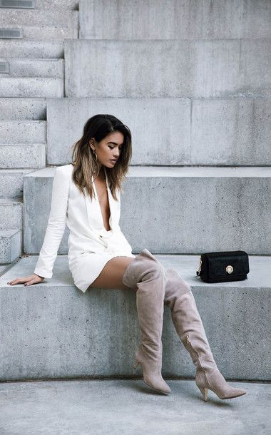 Dress: tumblr white blazer mini boots nude boots high heels boots over the knee boots thigh high