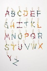 anthropologie diy yarn letter ornaments such a cute idea for holiday gift wrapping