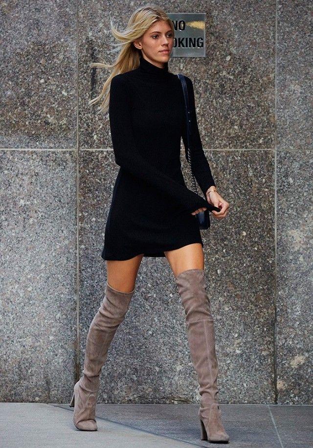 c1c008e3d4e Basic black dress and over the knee boots... winning