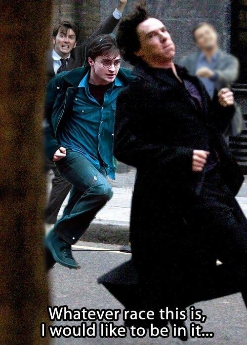 Cracking up at Strutting Leo in the background // The Great Fandom Race! In all honesty though, I run like a fake drunk Sherlock