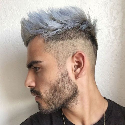 White and Light Blue Spiky Hair with Beard