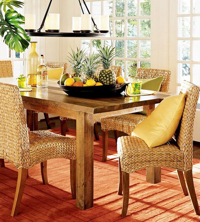 Rattan chairs and wooden dining table