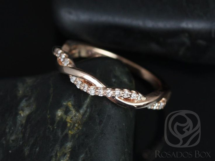 Dusty 14kt Rose Gold Weaving Braid Wedding Band.