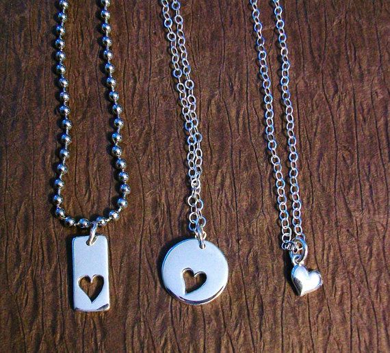 mother father and daughter necklace set sterling by junique4u   82 00