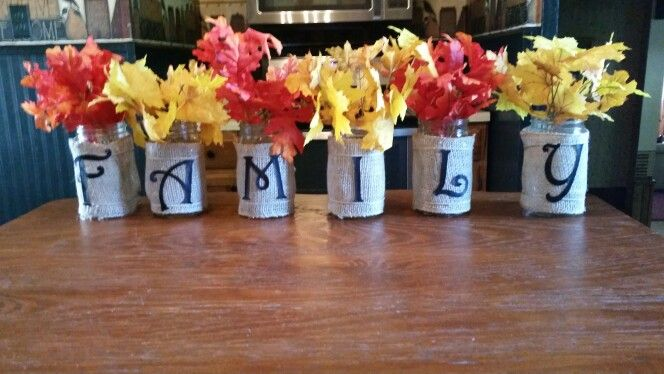 Mason jar fun Created these fun fall centerpieces for our family reunion