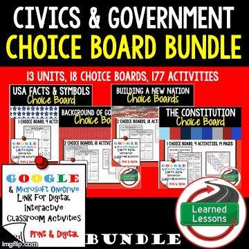 Civics Government Choice Boards Google 1:1 Digital Learning