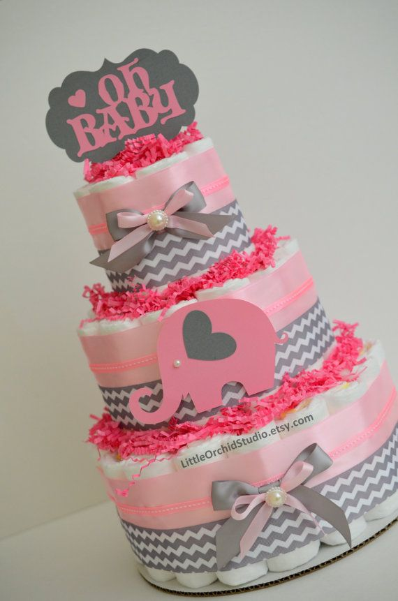 Pink Chevron Safari Diaper Cake/ Elephant di LittleOrchidStudio
