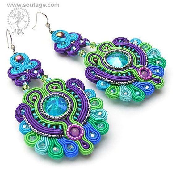 Bombay blue green soutache earrings with Swarovski