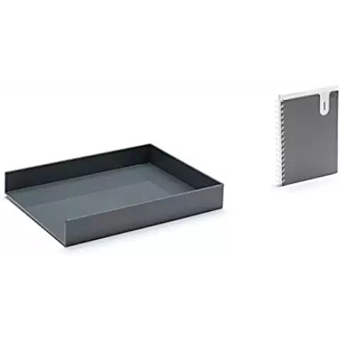 Poppin 4 Pc. Letter Tray and Pocket Spiral Notebook Desk Accessories Set - Dark Gray