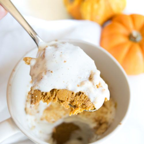 You know we love pumpkin at Get Healthy U and now we've made a pumpkin pie in a mug that can be ready in 5 minutes! That's right, there's no pie dough to roll out, no waiting while it bakes in the oven;it's as simple as mixing ingredients in a mug and popping it in …