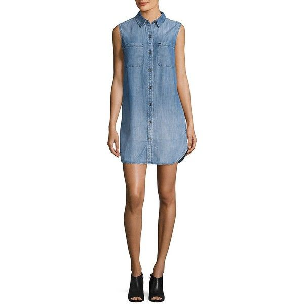 True Religion Women's Denim Shirtdress ($159) ❤ liked on Polyvore featuring dresses, indigo, denim shirt dress, sleeveless denim dress, button down denim dress, blue shirt dress and button up shirt dress