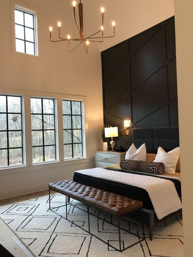 Modern Master Bedroom Decoration Ideas Black Accent Wall Industrial Bench At The End Of The Be Luxury Bedroom Decor Master Bedroom Accents Luxurious Bedrooms