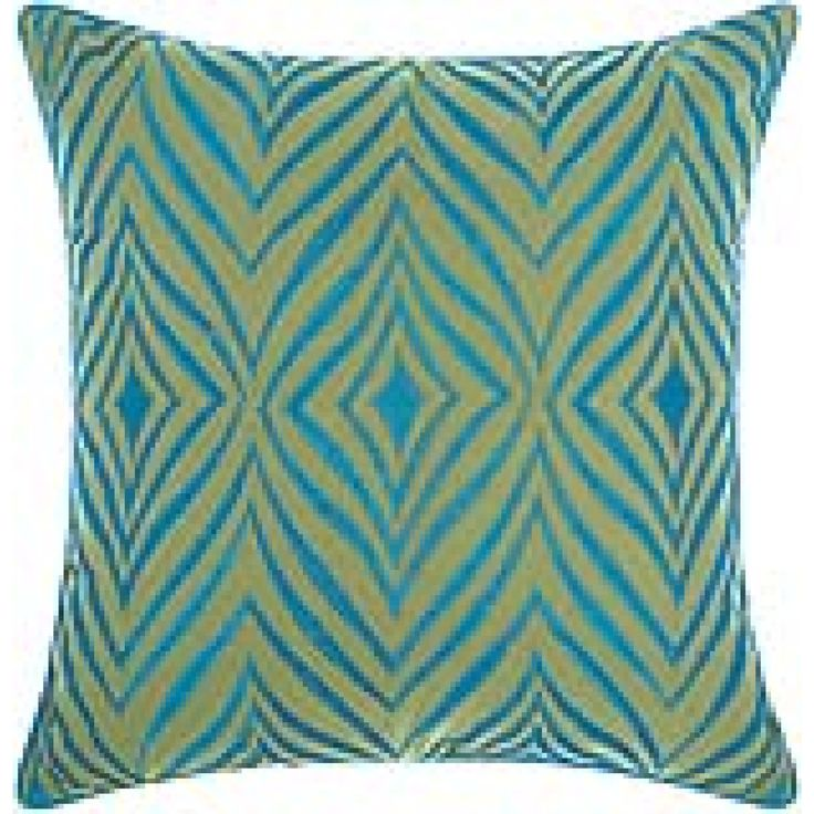 Mina Victory Indoor/ Outdoor Wild Chevron Green/ Turquoise Throw Pillow By  Nourison (18