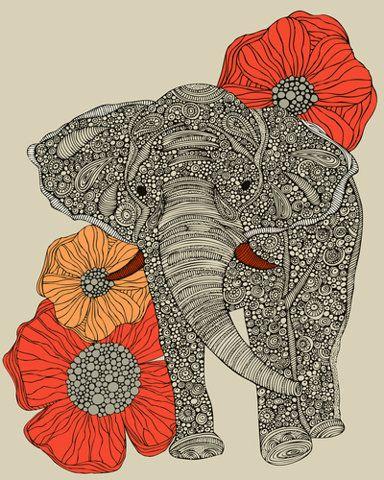 elephant: Drawings, Elephants Art, Art Prints, Elephants Prints, Poppies, A Tattoo, Flowers, Elephants Love, Animal