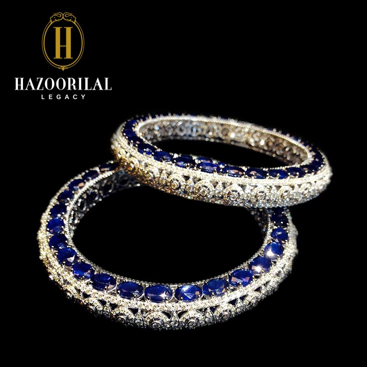 Hazoorilal jewellery: bangles set in sapphire and diamond.