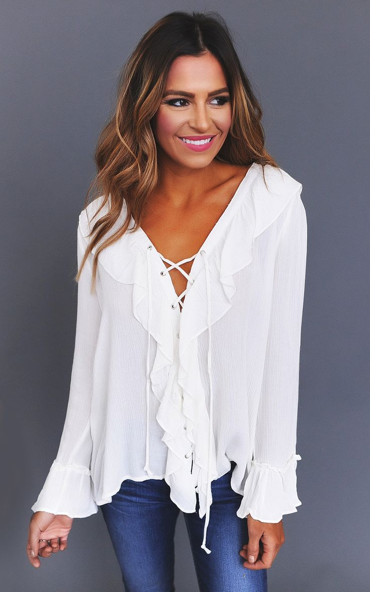 Lace Up Ruffle Top- Ivory - Dottie Couture Boutique
