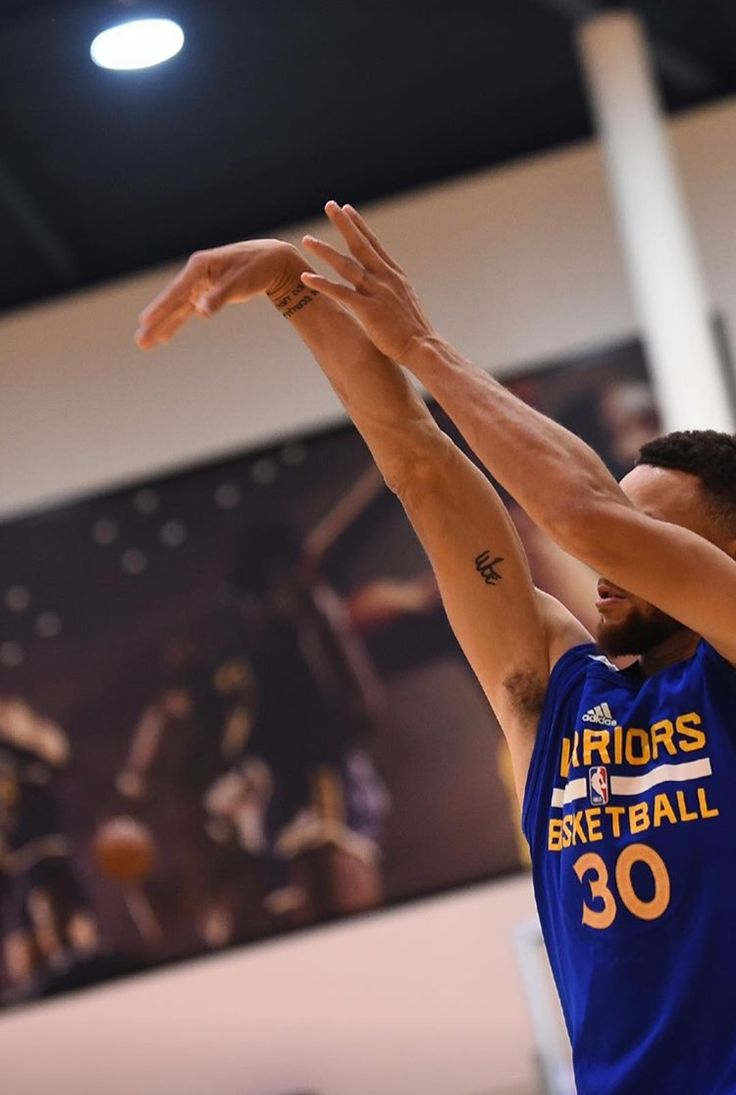 Stephen Curry of the Golden State Warriors shoots the ball during practice and media availability as part of the 2017 NBA Finals on June 3 2017 at the...
