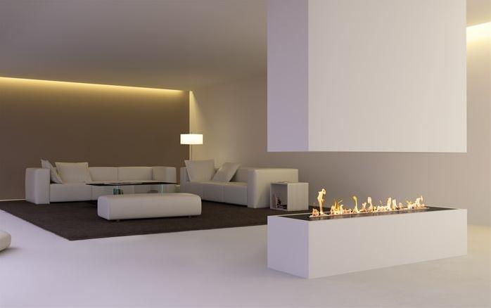 modern architecture - fireplace - decoflame - denver e-ribbon fire - bio-ethanol fireplace
