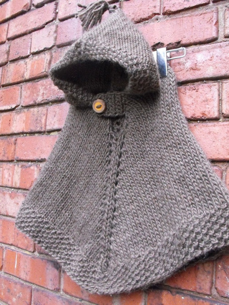 Hand Knit Hooded Wool Poncho Size 1 to 2 by VintageBabyRevival