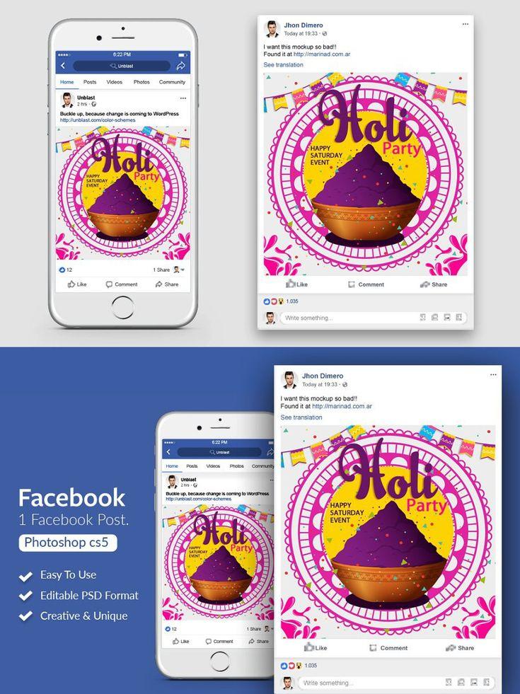 Holi event facebook post banner in 2020 facebook posts