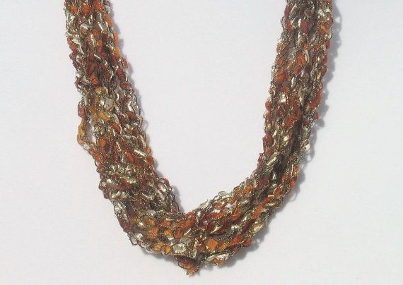 Ladder Yarn Necklace Ribbon Necklace Crochet by DeesCozyCreations
