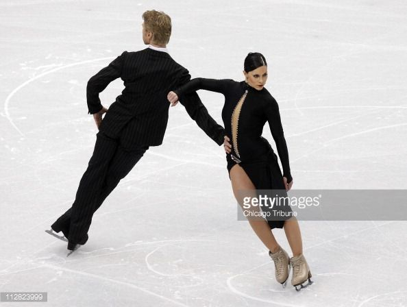 Isabelle Delobel and Oliver Schoenfelder of France skate in the Compulsory Ice Dance competition during the 2010 Winter Olympics at the Pacific Coliseum in Vancouver, British Columbia, Canada, Friday, February 19, 2010. (Photo by Nuccio DiNuzzo/Chicago Tribune/MCT via Getty Images)