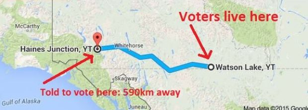 """Some voters in Yukon who live in Watson Lake were give voter information cards which directed them to a polling station in Haines Junction, which is almost 600 kilometres away. 'It's indicative of the depth & degree of distrust Canadians have for Harper that the first thought when told of anything to do with elections, is """"What scam has Harper pulled now?""""'. Dennis Brady Commenter."""