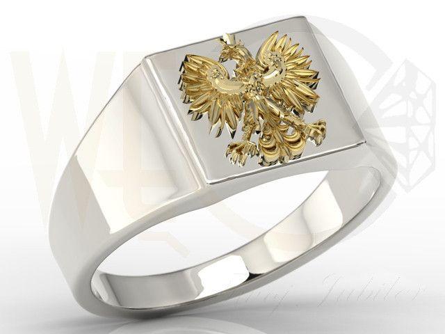 Sygnet z białego i żółtego złota z orłem / Signet ring made from yellow and white gold / 1957 PLN #signet_ring #gold #jewelry #jewellery #man #sygnet #bizuteria #zloto