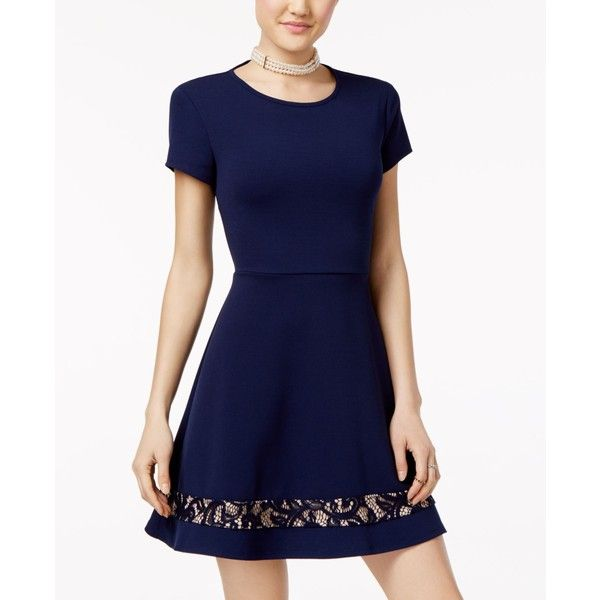 B Darlin Juniors' Lace-Trim Fit & Flare Dress ($59) ❤ liked on Polyvore featuring dresses, navy, navy blue fit and flare dress, cutout dresses, blue dress, skater dress and blue a line dress