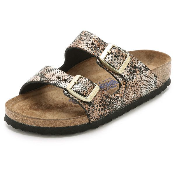 Birkenstock Arizona Python Sandals ($140) ❤ liked on Polyvore featuring  shoes, sandals,