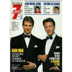 """Tom Cruise et Dustin Hoffman sont les héros de """"Rain Man"""" : Un monde secret derrière le triomphe, dans Télé 7 jours (n°1510) du 06/05/1989 [couverture mise en vente par Presse-Mémoire]"""
