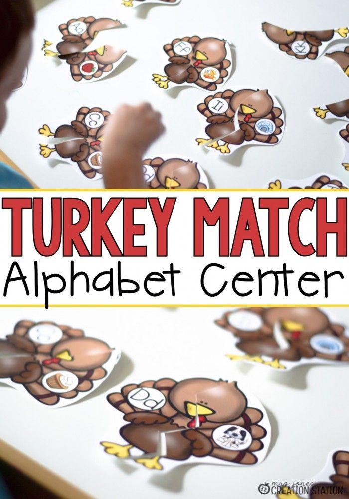 FREE Turkey Match Alphabet Center. Fun Thanksgiving ABC game!