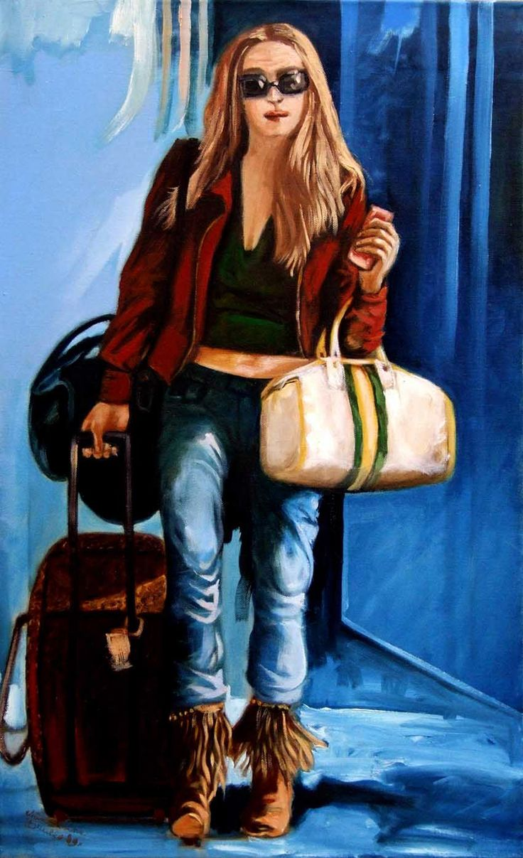 La ragazza con le valigie 50x80cm