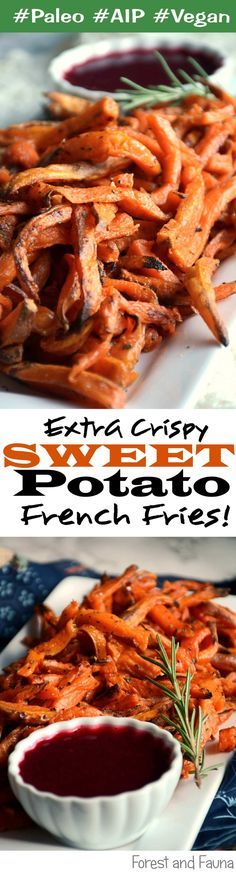 These sweet potato fries have a flavorful crispy coating! Fully Paleo - AIP - Vegan Recipe! Sooo easy too!