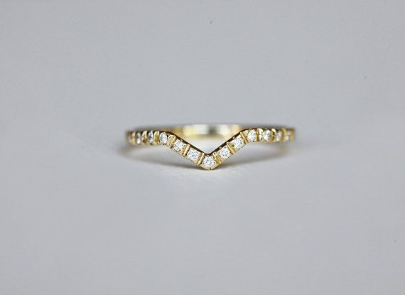 Pave Diamond Ring, V Shaped Wedding Band, Stacking Wedding Band, Micropave Diamond Ring, 14k Solid Gold