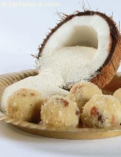 A traditional maharashtrian laddu made up of roasted semolina and coconut combined with sugar syrup, ghee, dry fruits and rolled into round balls.