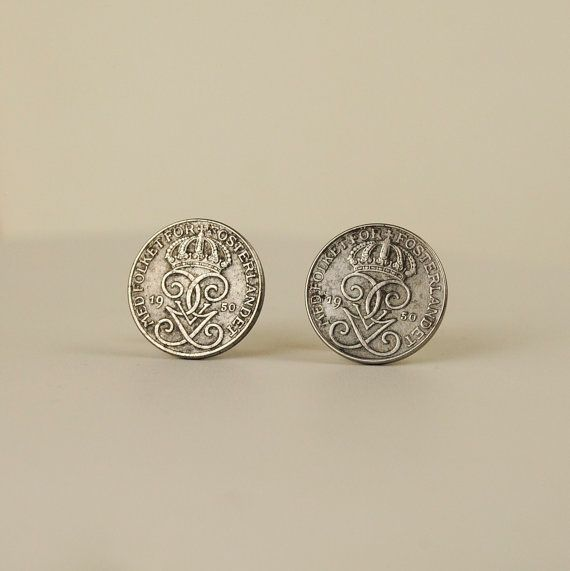 Sweden Coin Earrings 1950