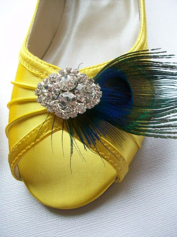 Peacock Yellow One Inch Wedge Wedding Shoes Pick Your Own Rhinestone Bling Perfect For Outdoor Weddings... Available In Over 100 Colors