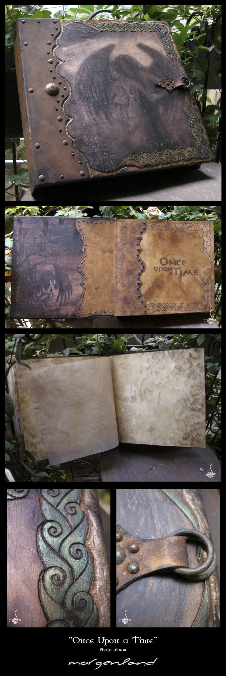 """""""Once Upon a Time"""" Photo Album.  A totally aged & destroyed looks like photo album. Cover pages made of plywood. Photos attached by photo transferring method. Decorating border sculpt & burned with pyrographer. All cover scratched and burned. Spines & inside cover pages made of aged painted leather. Spikes are oxidized to rust. Album cardboards worked with tee and coffee to look old and mouldy one by one. Bookbinding made by me as well. Close safely with buckle. Images paintings of mine."""
